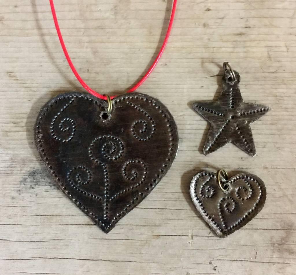 Medium Hammered Metal Heart from Haiti