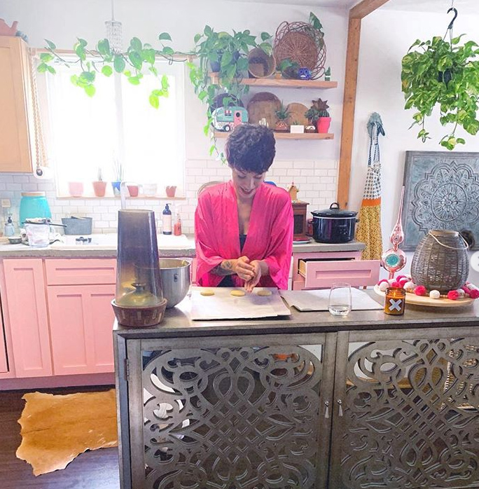 Pink Cowhide Kitchen + Jungalow Home