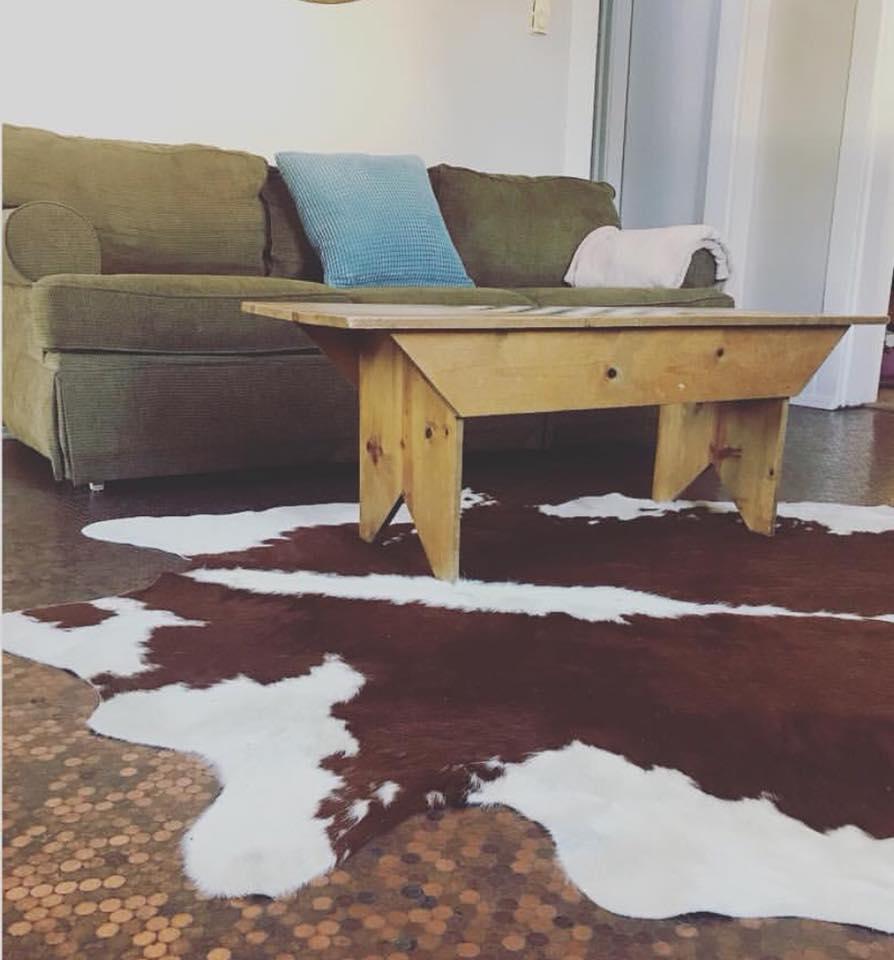 Cowhide Rug on a Penny Floor
