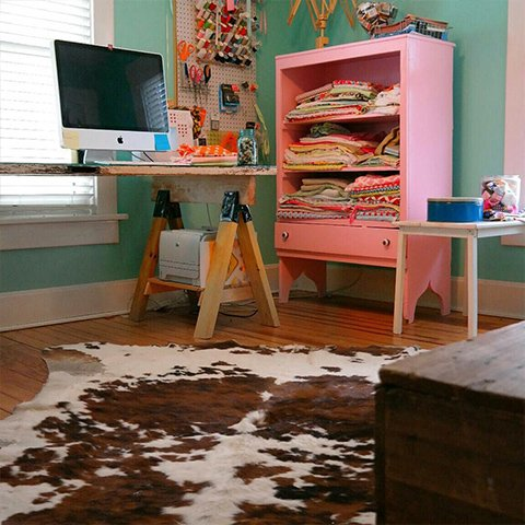 Pink Sewing Room Cowhide