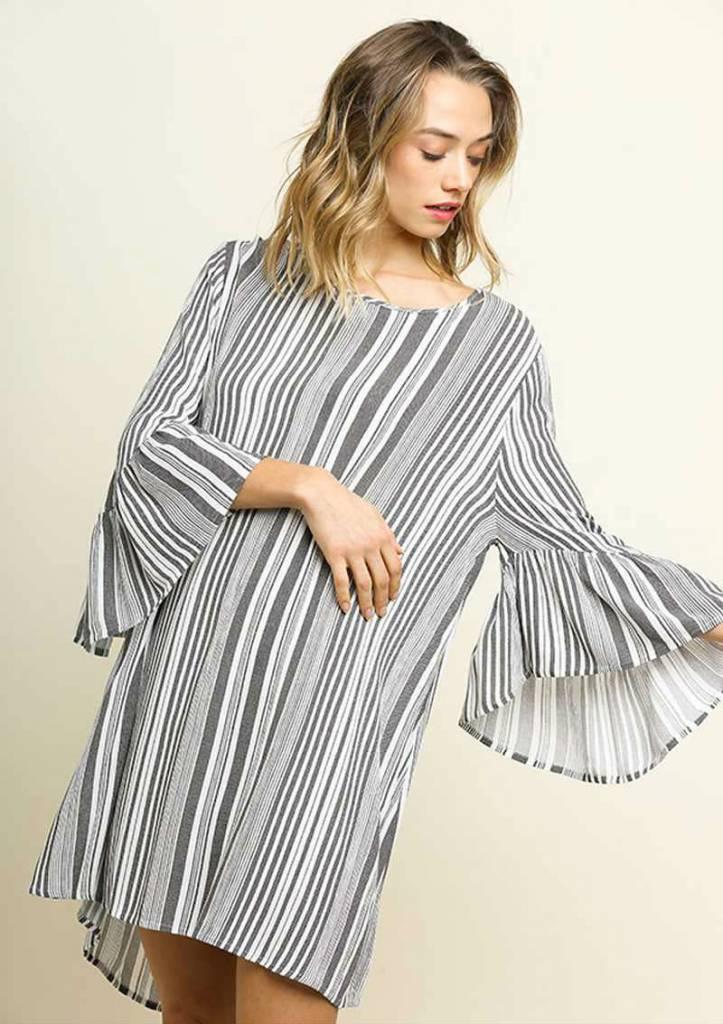 Black Stripe Bell Sleeve Dress