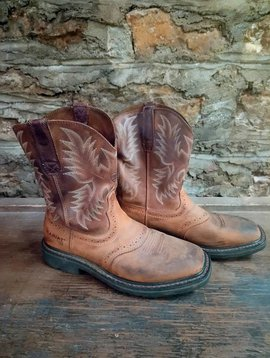 Size 10 Ariat Brown Leather Cowboy Boots