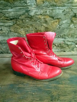 Size 10 Men's Justin Red Lace Up Boots