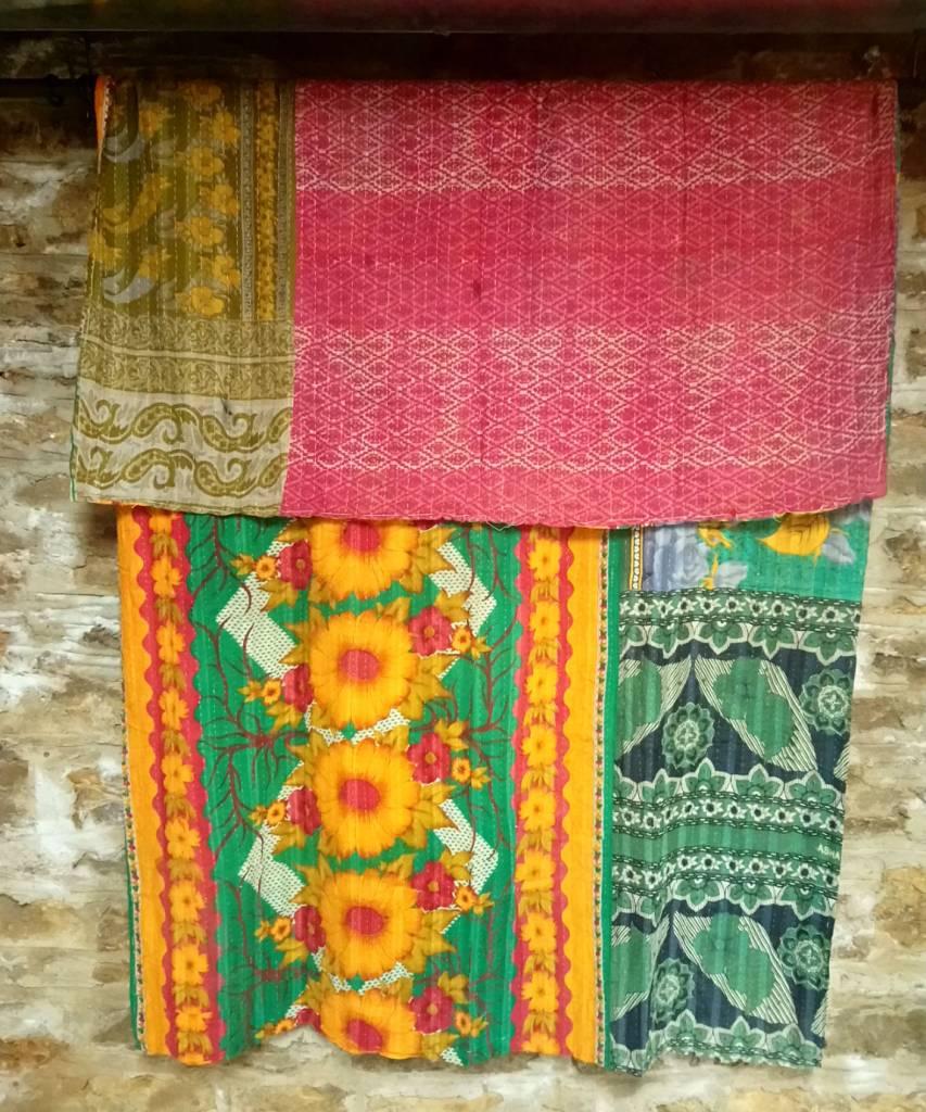 Kantha Sari Throw #2