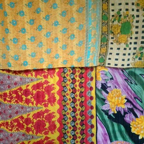 Kantha Sari Throw #7