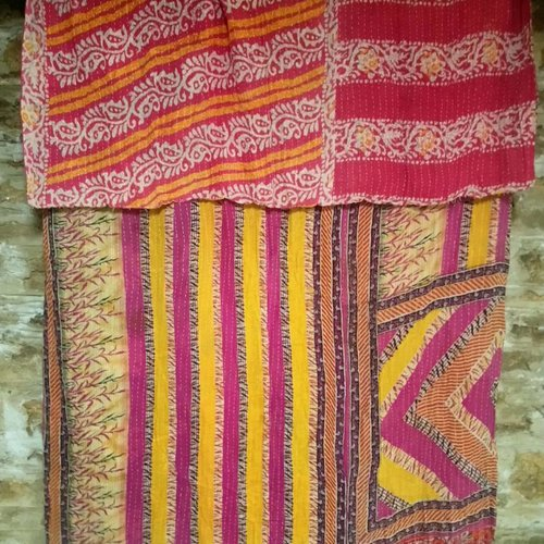 Kantha Sari Throw #8