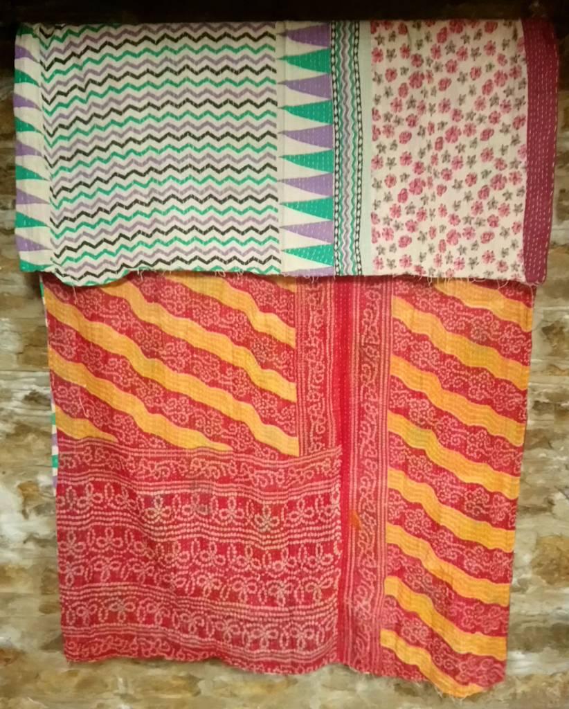 Kantha Sari Throw #9