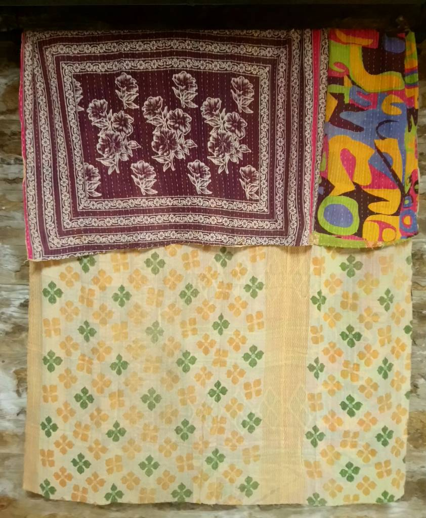 Kantha Sari Throw #11