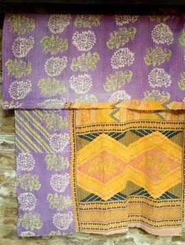 Kantha Sari Throw #12