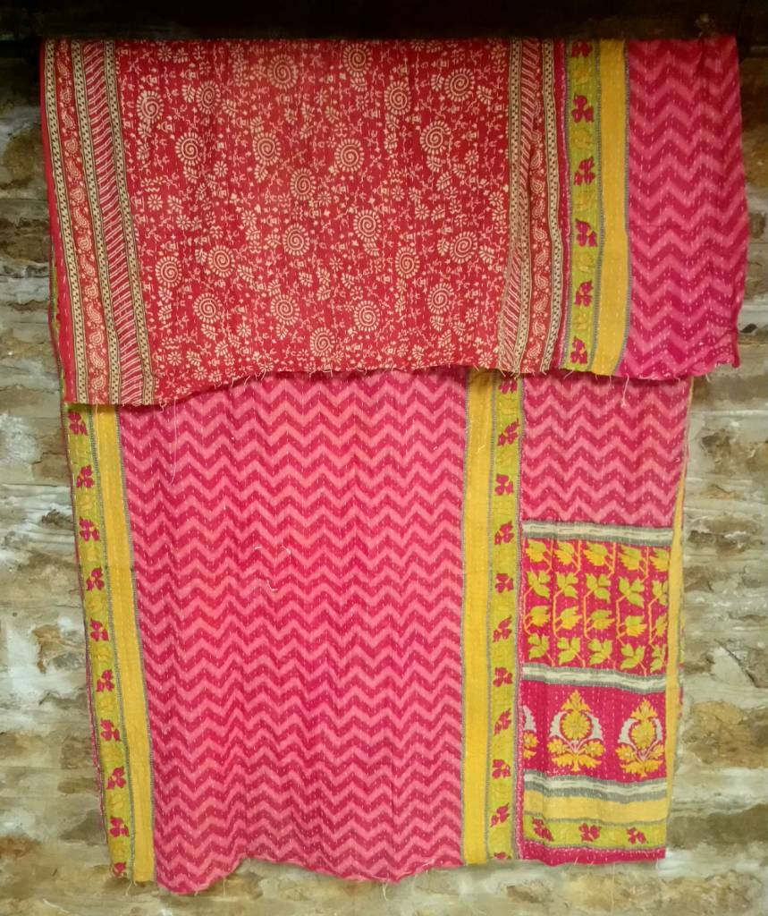 Kantha Sari Throw #13