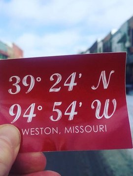 Weston, Missouri Latitude &  Longitude Sticker