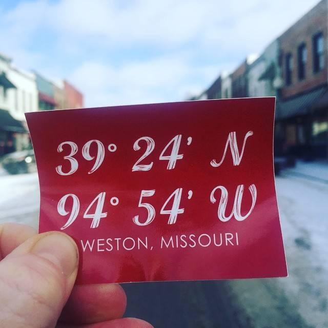 Weston, Missouri Latitude &  Longitude Sticker