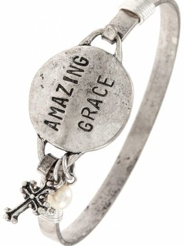 Amazing Grace Silver Bangle Bracelet