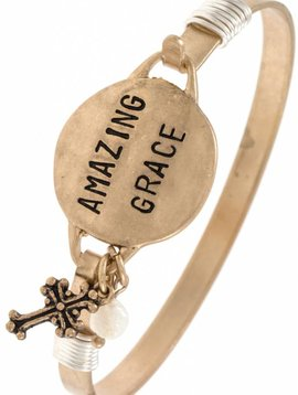 Amazing Grace Gold Bangle Bracelet