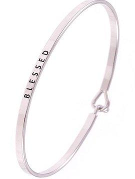 Blessed Silver Bangle Bracelet