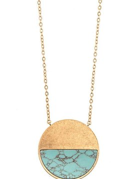 Gold & Turquoise Pendant Necklace