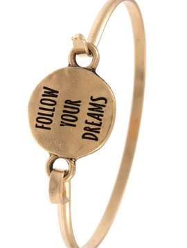 Follow Your Dreams Gold Bangle Bracelet