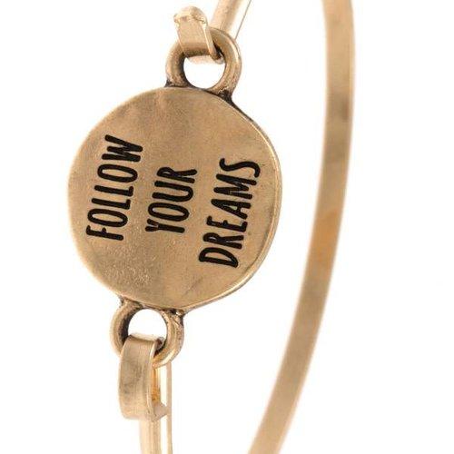 Follow Your Dreams Gold Bangle Bracelet
