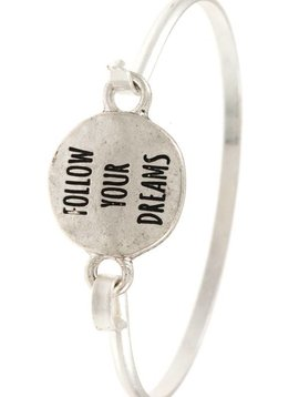 Follow Your Dreams Silver Bangle Bracelet