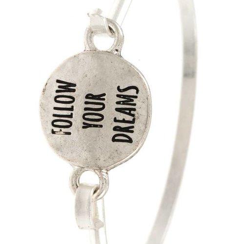 Follow Your Dreams Silver Bangle Bracelet