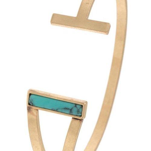 Turquoise Gem Bar Cuff Bracelet