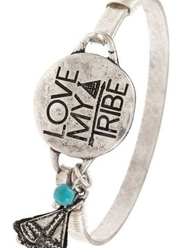 Love my Tribe Silver Bangle Bracelet