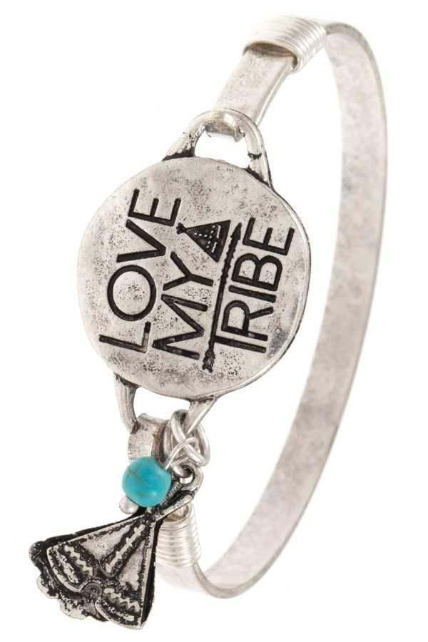 Love my Tribe Silver Bangle Bracelet