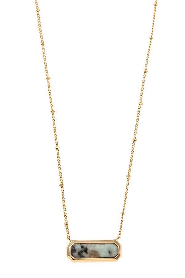 Kiwi Stone Pendant Necklace