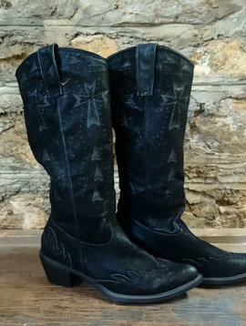 Black Roper Cowgirl Boots Sz 10