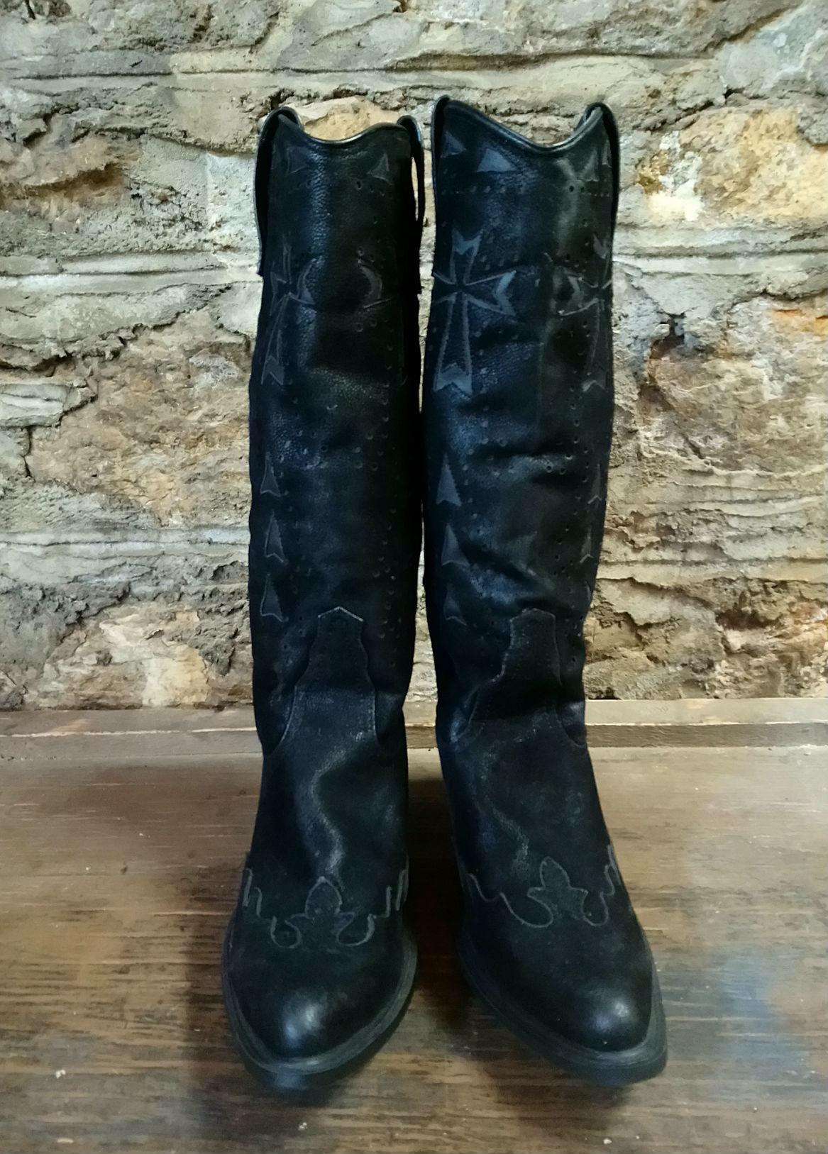 Black Roper Cowgirl Boots Sz 10