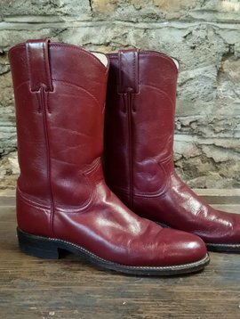 Maroon Justin Roper Cowboy Boots Size 6