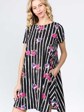CURVY Floral Stripe Swing Dress