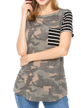 Camo & Stripe Pocket Tee