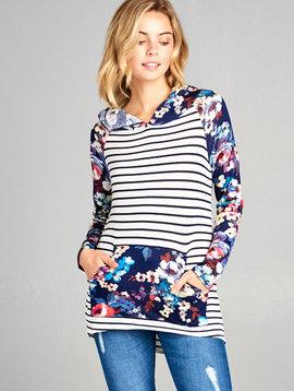 Navy Floral Stripe Hoodie