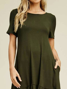 Olive Ruffle Hem Dress