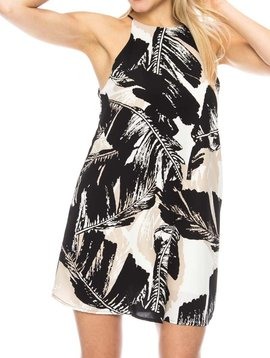 Leaf Print Mini Shift Dress