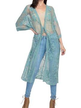 Ocean Lace Tie Front Kimono Cardigan