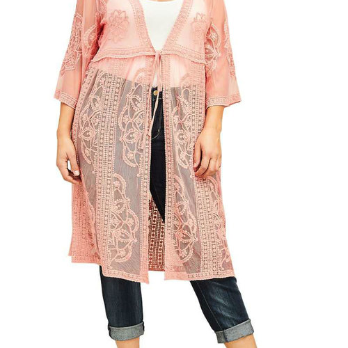 CURVY Dusty Rose Lace Tie Front Kimono Cardigan