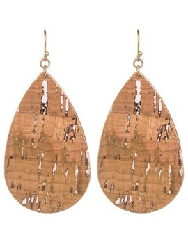 Wood Pattern Leather Teardrop Earring