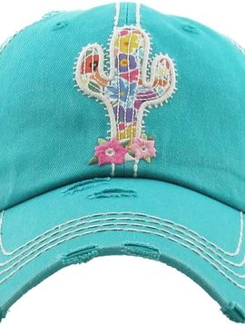 Floral Embroidered Cactus Ball Cap Turquoise