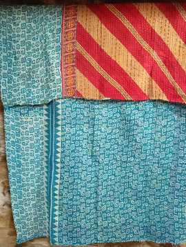 Kantha Sari Throw #17