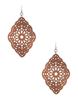 Faux Leather Filigree Earring