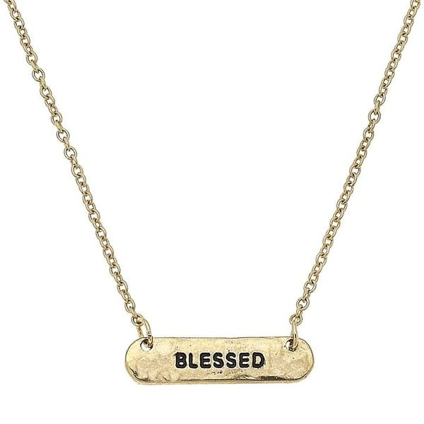 Blessed Silver Bar Necklace