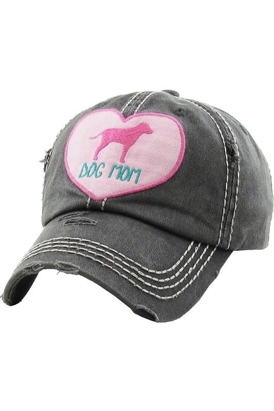 Pink Heart Dog Mom Ball Cap