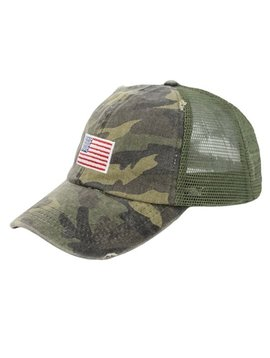 American Flag Camo Ball Cap