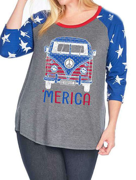 CURVY America VW Bus Raglan Top