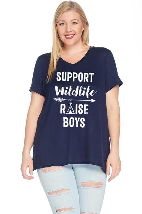 CURVY Support Wildlife Raise Boys Top