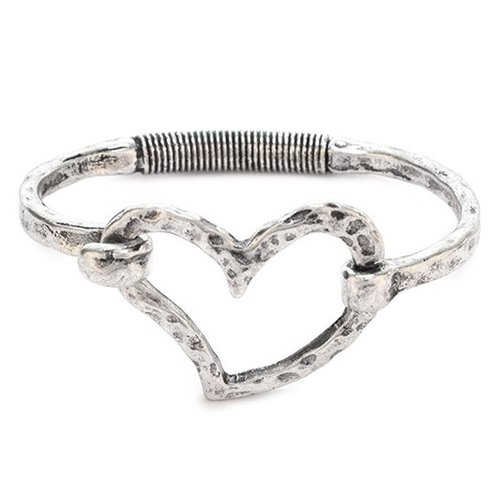 Hinged Heart Bracelet Silver
