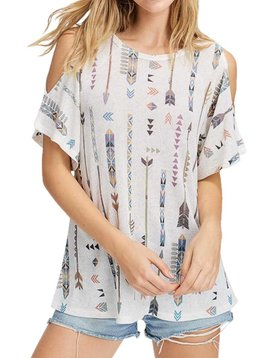 Aztec Arrow Cold Shoulder Top