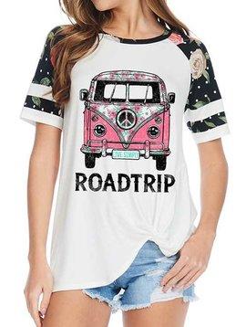 Floral Sleeve Road Trip Tee